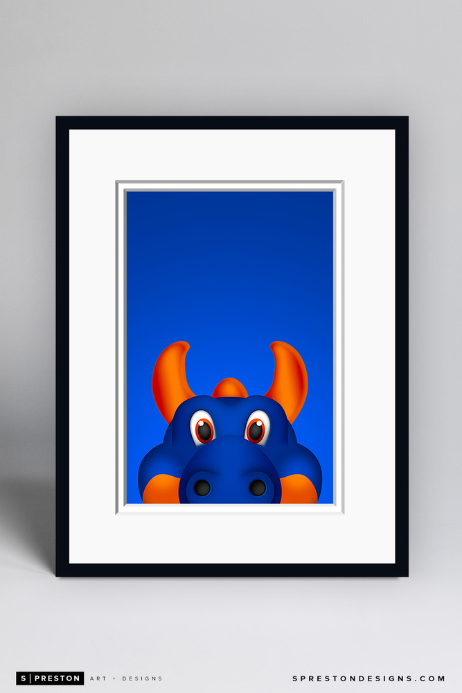 Sparky The Dragon - Framed Limited Edition Minimalist NHL Mascot Art Print (6/350) by S. Preston