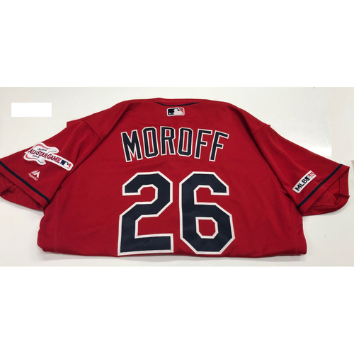 Photo of Max Moroff Game Used 2019 Opening Day New Home Alternate (Red) Jersey