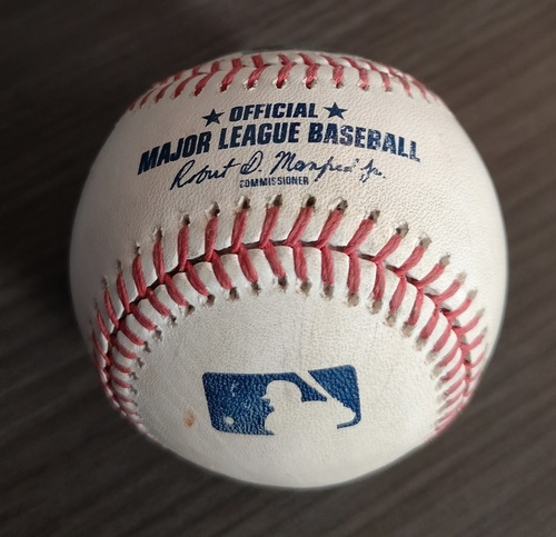 Photo of Authenticated Game Used Baseball - Single by Shohei Ohtani against Aaron Sanchez (Jun 19, 19 vs LAA). Top 2.
