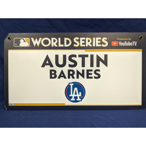 Photo of Team-Issued Austin Barnes 2017 World Series Media Sign