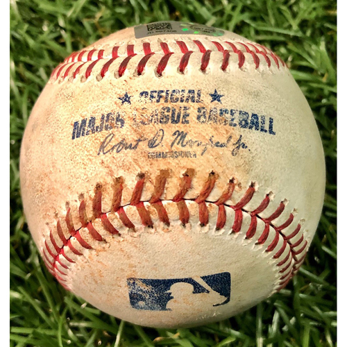 Photo of Game Used Baseball: Austin Meadows single and Tommy Pham strikeout against Mike Shawaryn - Nate Lowe 2R Walk-Off Home Run - September 21, 2019 v BOS