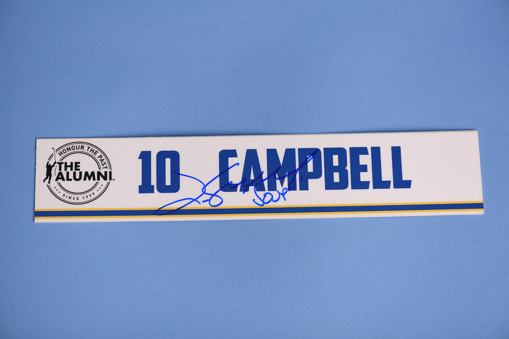 Jim Campbell autographed 2020 NHL Alumni All Star Game Locker Room Stall Nameplate