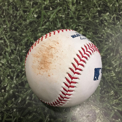 Photo of Game-Used Baseball ARI@MIL 06/04/21 - Freddy Peralta - David Peralta: Strikeout (3rd Strikeout of Game; Peralta No-Hit Bid Broken Up with One Out in 8th Inning)