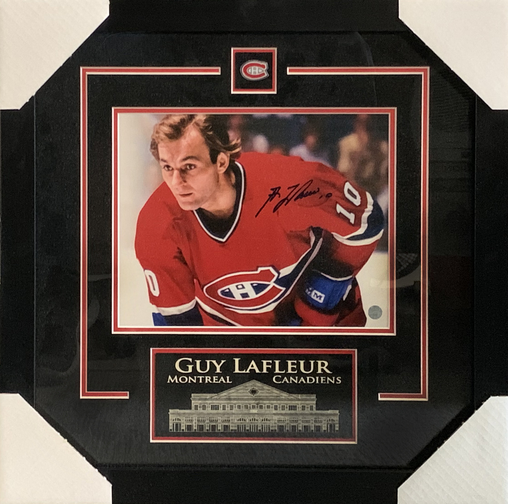 Guy Lafleur Montreal Canadiens Signed Framed 8x10 Close-Up Photo with Etched Mat