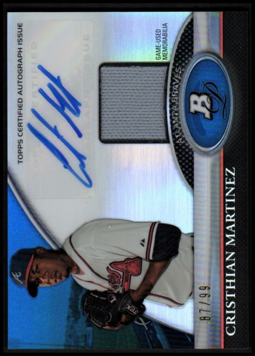 Photo of 2011 Bowman Platinum Relic Autograph Blue Refractors #CM Cristhian Martinez