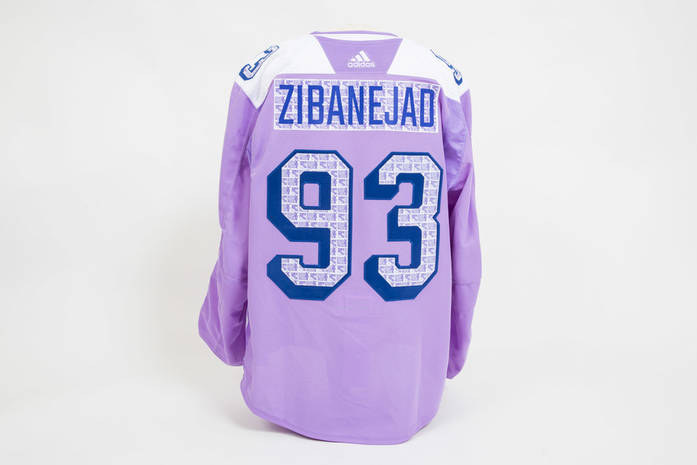 Autographed Mika Zibanejad lavander warm-up worn jersey for the Hockey Fights Cancer game - New York Rangers