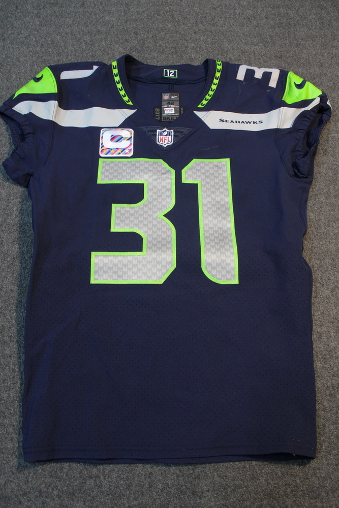 CRUCIAL CATCH - SEAHAWKS KAM CHANCELLOR GAME WORN SEAHAWKS JERSEY W  CAPTAINS  PATCH (OCTOBER 2f1199386