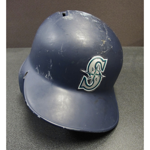 Photo of Kyle Seager Team-Issued Navy Batting Helmet DET at SEA 6-19-2017. Helmet Size - 7 5-8