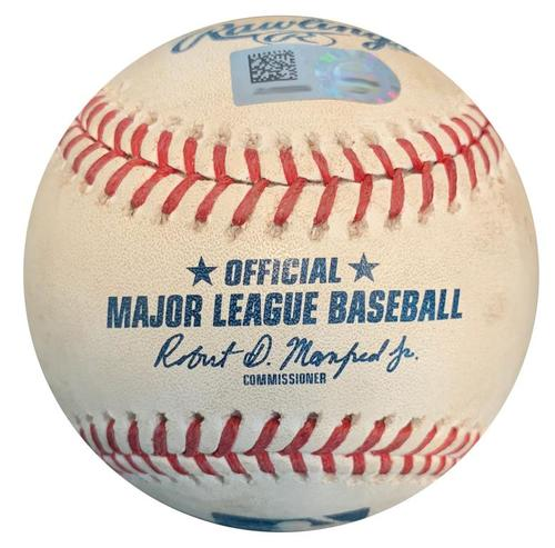 Photo of Game-Used Baseball from Pirates vs. Brewers on 9/23/18 - Lorenzo Cain Reaches on Error