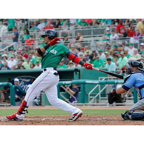 Photo of Red Sox Foundation St. Patrick's Day - Gorkys Hernandez Game-Used and Autographed Jersey