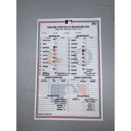 Photo of Boston Red Sox vs Oakland Athletics April 29, 2019 Game-Used Lineup Card - Red Sox Win 9 to 4