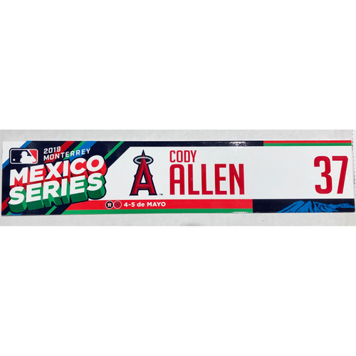 Photo of 2019 Mexico Series Game Used Locker Name Plate - Cody Allen, Houston Astros at Los Angeles Angels - 5/4/19