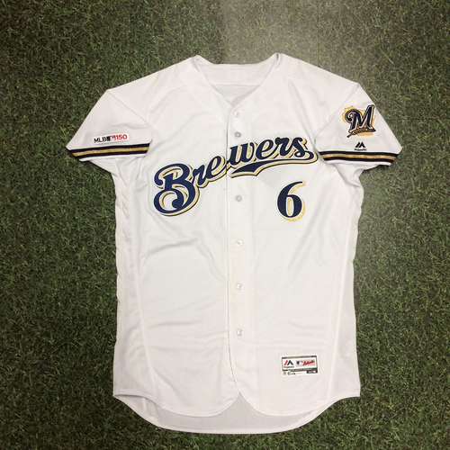 Photo of Lorenzo Cain 05/07/19 Game-Used Home White Jersey - 3-Run Double