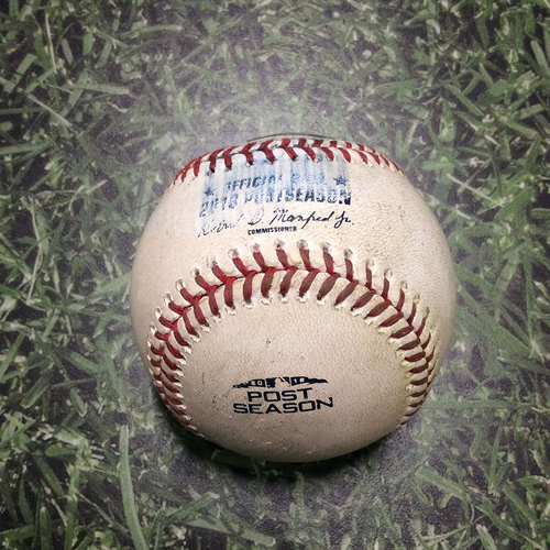 Photo of Game-Used Baseball NLCS Game 6 LAD@MIL 10/19/18 - Wade Miley - Justin Turner: Single