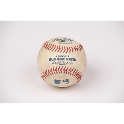 Photo of Game Used Baseball: Pitcher: Shohei Ohtani, Batter: George Springer - Strike Out - Top 1 - 8-2-2020 vs. HOU