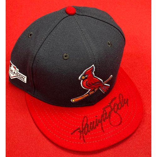 Photo of Harrison Bader Autographed Team Issued Alternate Cap w/ 2019 Postseason Patch (Size 7 3/8)