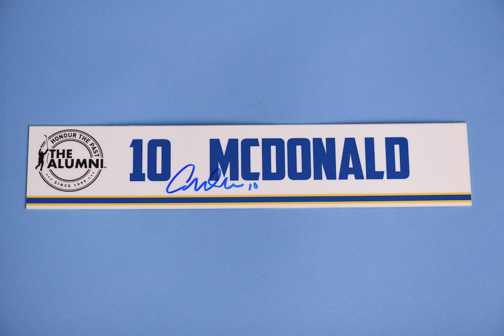 Andy McDonald autographed 2020 NHL Alumni All Star Game Locker Room Stall Nameplate