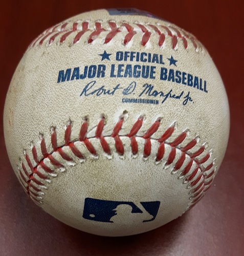 Photo of Authenticated Game Used Baseball (April 18, 2017 vs BOS) - Mitch Moreland doubles (10) on a sharp fly ball to left fielder Steve Pearce.   Hanley Ramirez scores.  Two-Seam Fastball by Marcus Stroman (Top 5)