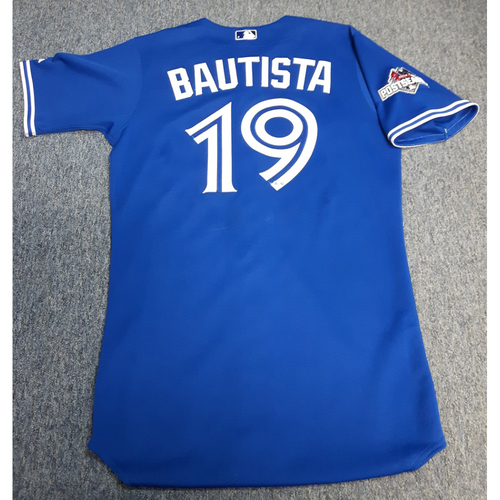 Photo of Authenticated Team Issued 2015 Postseason Jersey - #19 Jose Bautista. Size 42.