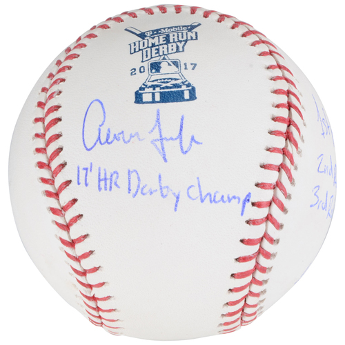 Photo of Aaron Judge New York Yankees Autographed Home Run Derby Baseball with Multiple Inscriptions - Limited Edition 1 of 1