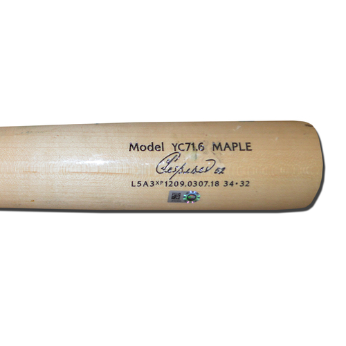 Photo of Yoenis Cespedes #52 - Game Used Cracked Bat - Beige Chandler Model - Cespedes Hits Game-Winning RBI Single in 12th Inning - Mets vs. Nationals - 4/8/18