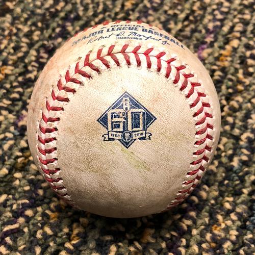 Photo of 2018 San Francisco Giants - 2018 Game Used Baseball - Evan Longoria Single - 4/28/2018 vs. Los Angeles Dodgers