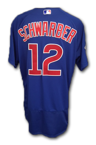 Photo of Kyle Schwarber Game-Used Jersey -- Cubs at Brewers -- 6/12/18