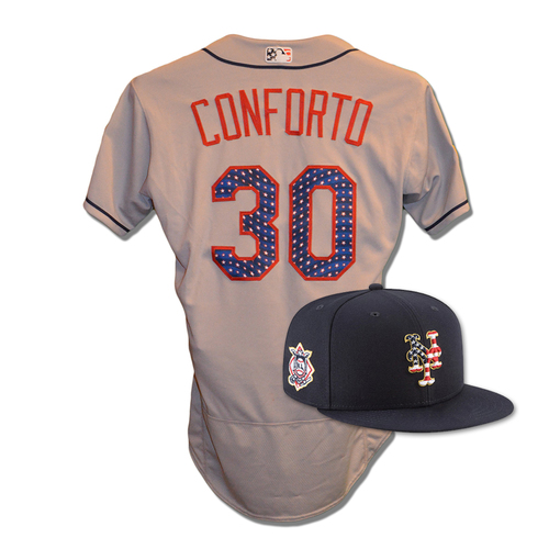 Photo of Michael Conforto #30 - Game Used 4th of July Jersey and Hat - Conforto Goes 1-3, RBI - Mets vs. Blue Jays - 7/4/18