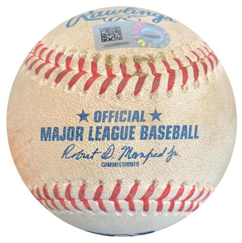 Photo of Game-Used Baseball from Pirates vs. Cardinals on 4/27/18 - Marcell Ozuna RBI Single