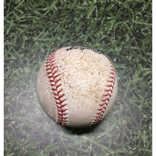 Photo of Game-Used Baseball CHC@MIL 04/07/19 - Zach Davies - Javier Baez: Single