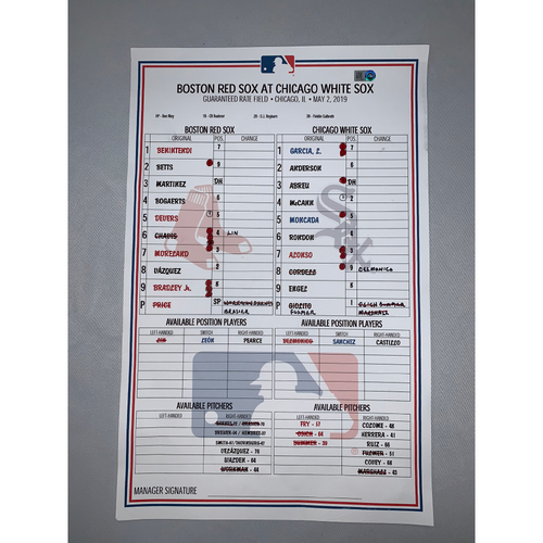 Photo of Boston Red Sox vs Chicago White Sox May 2, 2019 Game-Used Lineup Card - White Sox Win 6 to 4