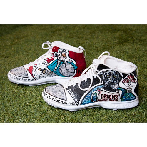Photo of •	Archie Bradley Custom Hand-Painted Space Day Themed Game-Used Cleats