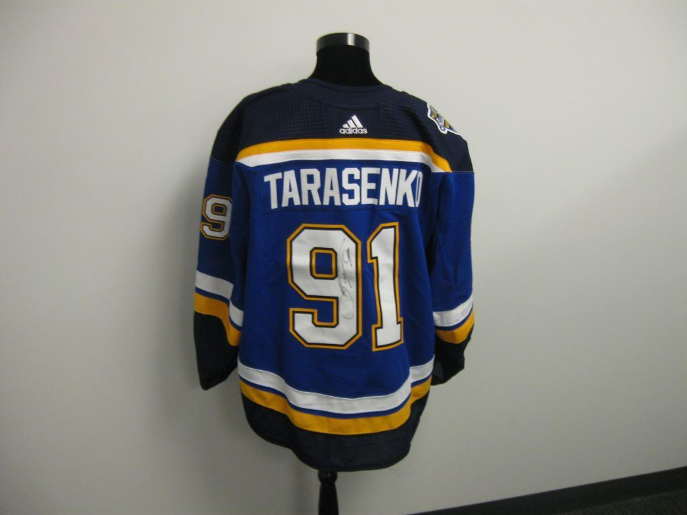 Vladimir Tarasenko Autographed Event Worn Jersey from 2019 Player Media Tour - St. Louis Blues