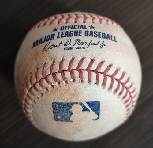 Photo of Authenticated Game Used Baseball - Double by Lourdes Gurriel Jr. against Jose Suarez (Jun 20, 19 vs LAA). Bottom 2.