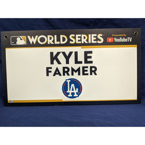Photo of Team-Issued Kyle Farmer 2017 World Series Media Sign