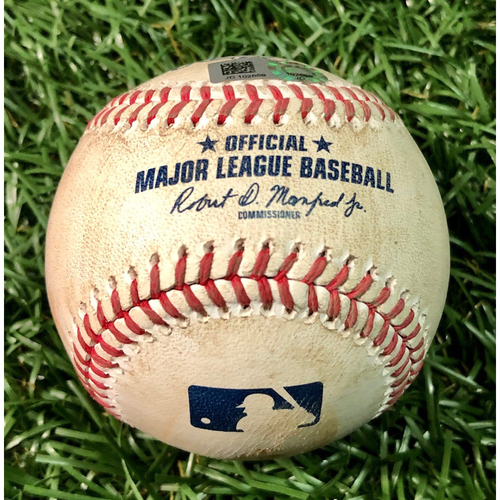Photo of Game Used Baseball: Ryan Yarbrough (ND, 6.1IP, 6 SO) strikes out Santiago Espinal - August 21, 2020 v TOR