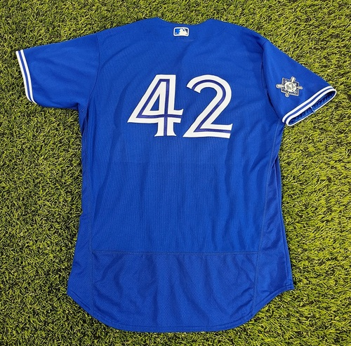 Photo of CHARITY AUCTION: Authenticated Game Used #42 Jersey: Vladimir Guerrero Jr. (Aug 28, 20: 2-for-4 with 1 HR, 1 Double, 2 Runs and 1 RBI). Size 48.