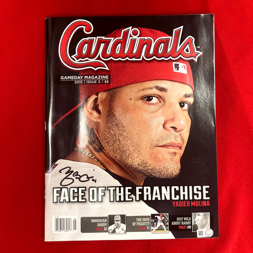 Photo of Yadier Molina Autographed Cardinals GameDay Magazine