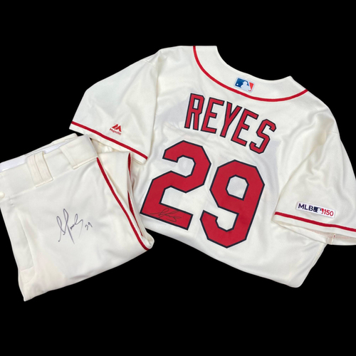 Photo of Alex Reyes Autographed Team Issued Home Alternate Jersey (Size 48) and Autographed Team Issued Home Alternate Pants (Size 36)