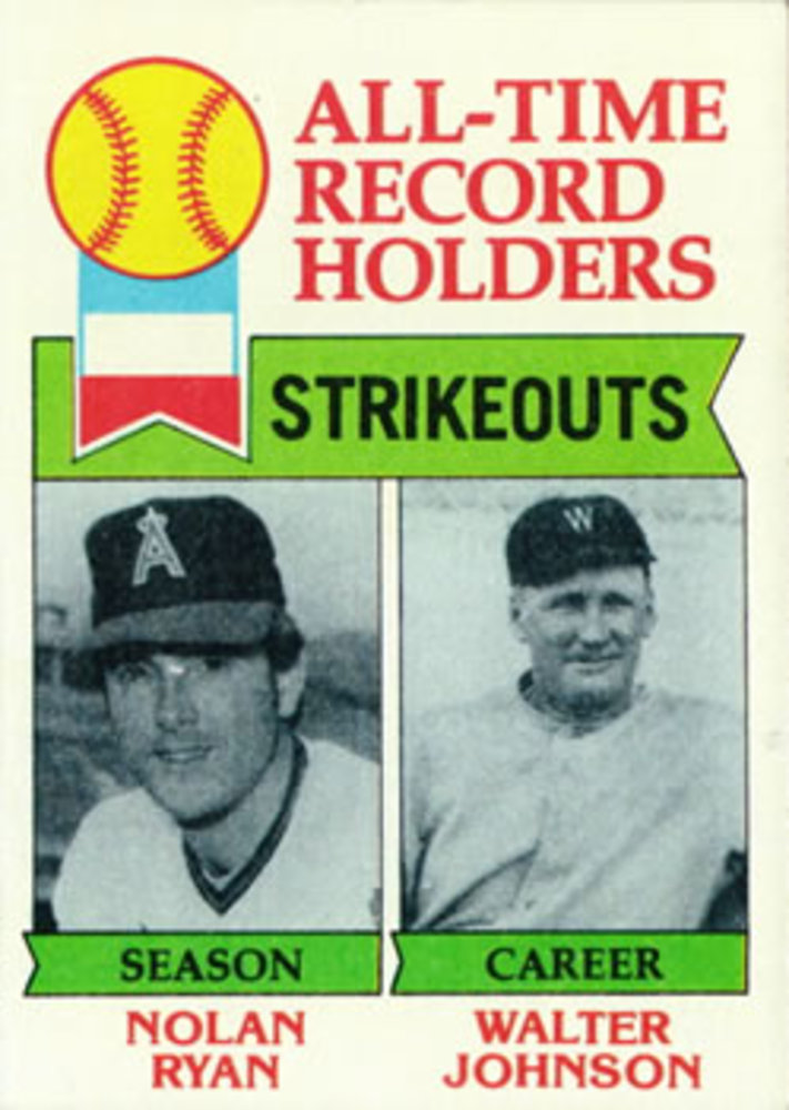 1979 Topps #417 Nolan Ryan All Time Leaders Walter Johnson