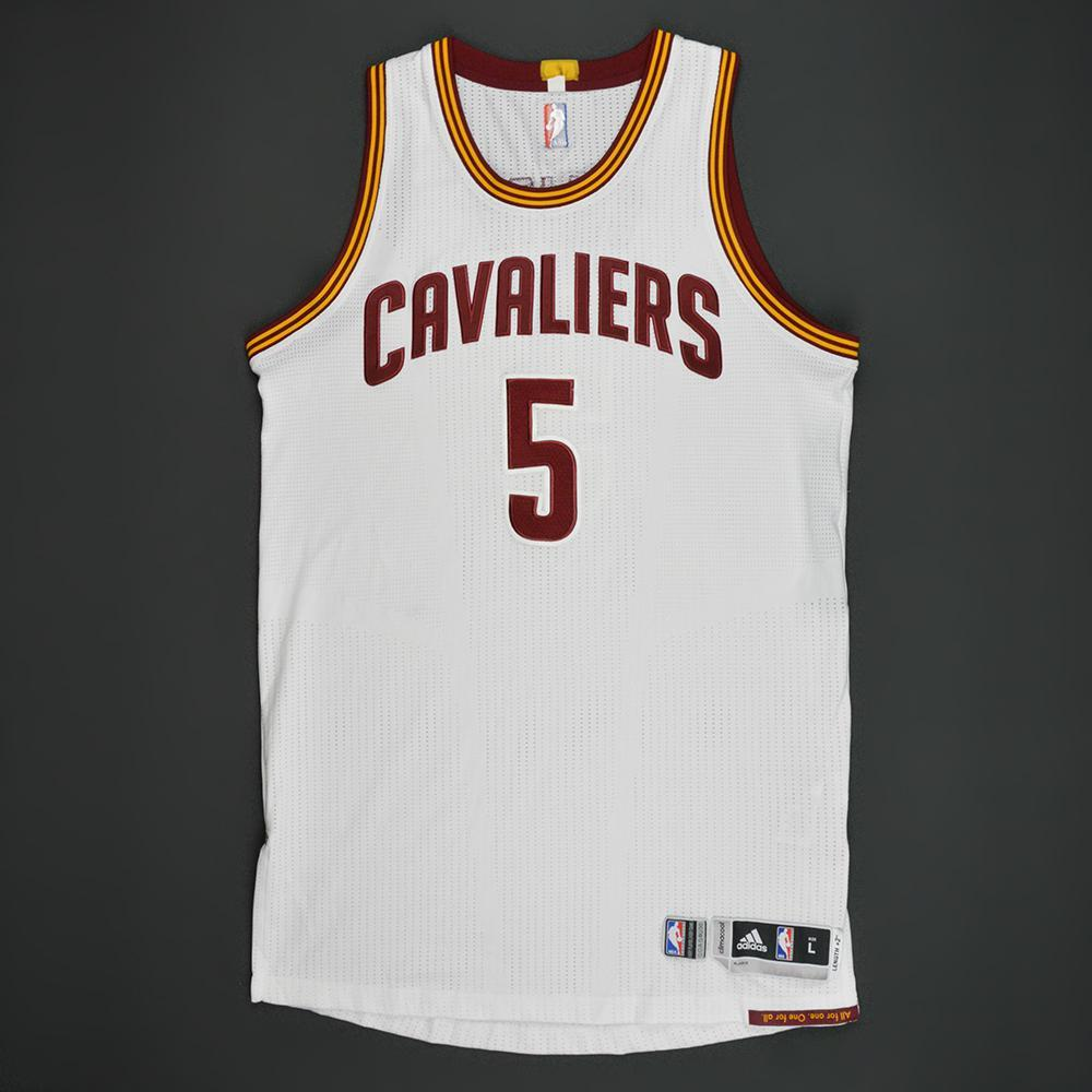 7fba3ace20a JR Smith - Cleveland Cavaliers - White Playoffs Game-Worn Jersey - 2016-17