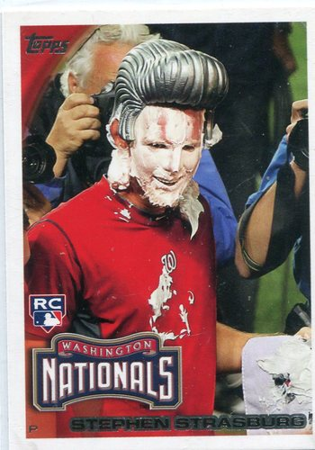 Photo of 2010 Topps #661F Stephen Strasburg Pie in the Face -- Nationals post-season