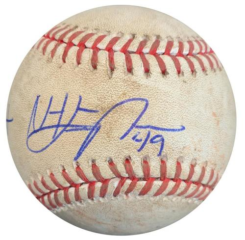 Photo of Nick Kingham Autographed Game-Used Baseball from MLB Debut