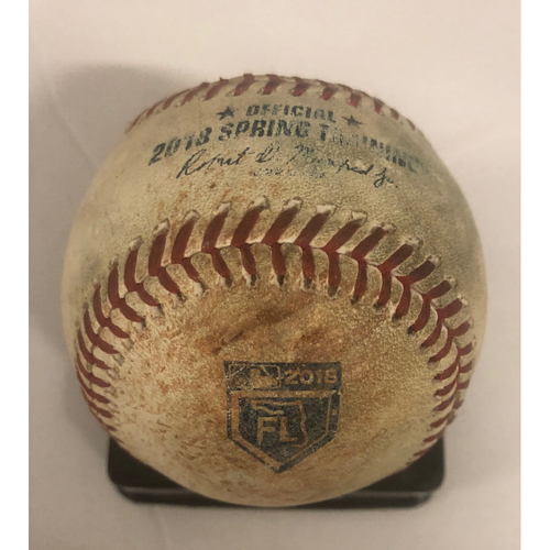 Photo of Ender Inciarte Game-Used Hit Single Baseball - 3/26/18 - Spring Training Logo on Ball