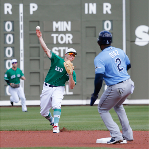 Photo of Red Sox Foundation St. Patrick's Day - Brock Holt Game-Used and Autographed Jersey