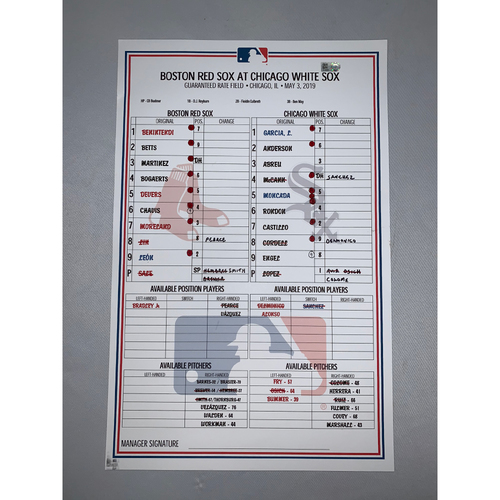 Photo of Boston Red Sox vs Chicago White Sox May 3, 2019 Game-Used Lineup Card - Red Sox Win 6 to 1