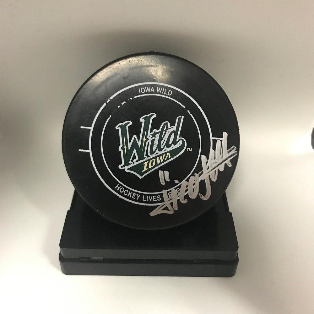 Iowa Wild Game Used Puck Signed by #11 Nico Sturm