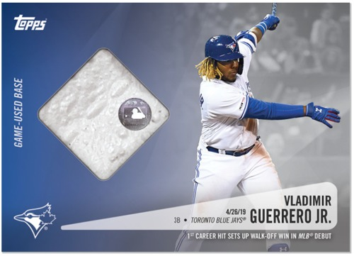 Photo of Vladimir Guerrero Jr Topps Relic Card with Piece of Game Used Base from MLB Debut (April 26, 2019)