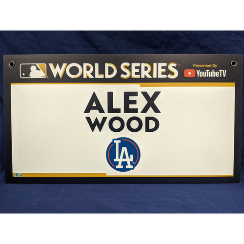Photo of Team-Issued Alex Wood 2017 World Series Media Sign