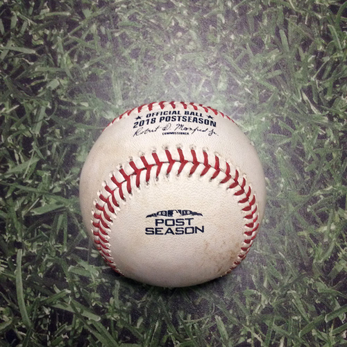 Photo of Game-Used Baseball NLCS Game 7 LAD@MIL 10/20/18 - Jhoulys Chacin - Yasiel Puig: Double